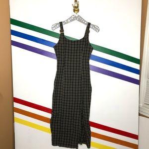 NEW Urban Outfitters plaid midi slit dress